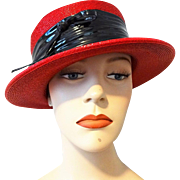 Womens Red Straw Hat Vintage 1960s Black Patent Band Bow Fashion Guild
