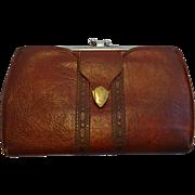 Art Deco Meeker Steerhide Leather Wallet Vintage 1920s Hand Tooled Womens Clutch Purse