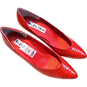 Red Genuine Snakeskin Heels Pumps Vintage 1980s Womens Shoes Christmas Party Accessory Never Worn