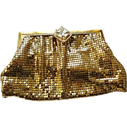 Whiting and Davis Gold Mesh Evening Bag Vintage 1940s Signed Rhinestone Clutch