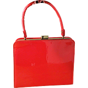 Red Patent Leather Kelly Bag Purse Vintage 1950s Womens Holiday Handbag
