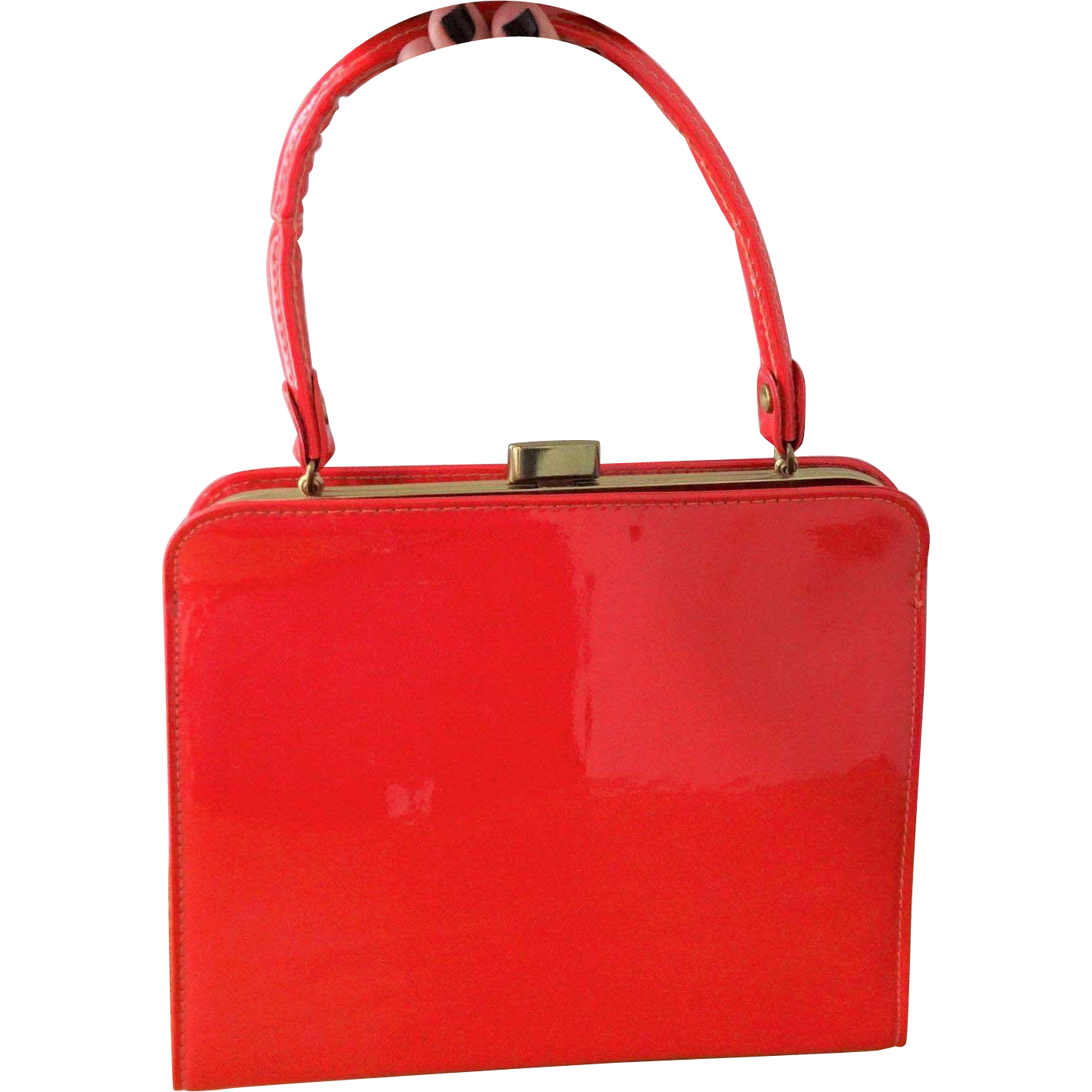 Red Patent Leather Kelly Bag Purse Vintage 1950s Womens Holiday ...