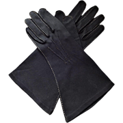 Vintage 1940s Womens Black Gloves Shalimar Size 7.5