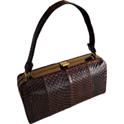 Vintage 1940s Brown Snakeskin Box Purse Handbag