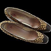Vintage 1960s Brown Womens Pumps Heels Faux Fur Trim Neiman Marcus
