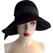 Lilly Dache Womens Black Hat Vintage 1960s Cloche Cartwheel Wide Brim Wool Felt Dachette
