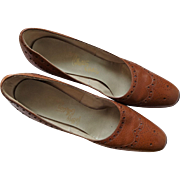 Womens Wingtip Shoes Vintage 1960s Camel Brown Leather Rhythm Step
