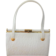 White Ostrich Purse Vintage 1950s Kelly Bag Genuine Leather Doral Handbag