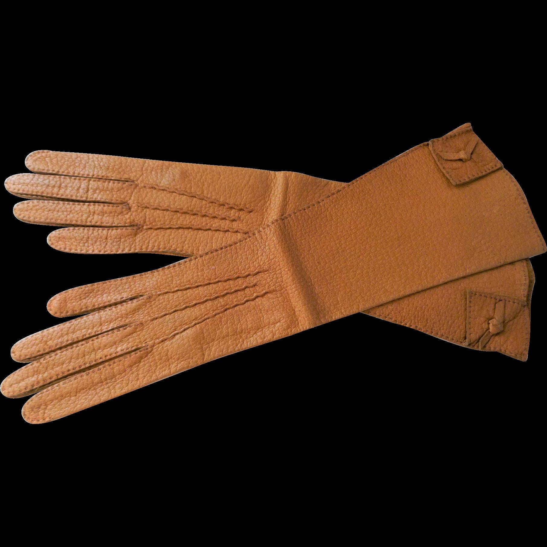 Vintage ladies leather opera gloves - Vintage 1960s Camel Kid Leather Womens Opera Gloves