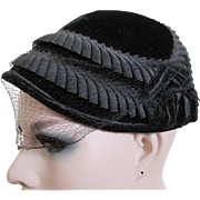 Antique Victorian Mourning Bonnet Hat Womens Velvet Veil Accessory