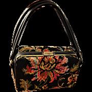 Vintage 1950s Tapestry Box Purse Carpet Bag Needlepoint Black Leather Dova USA