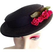 Cocktail Whimsy Topper Hat Vintage 1950s Black Straw Red Roses Bumper Betty Jane Original