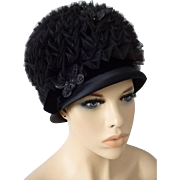 Womens Vintage 1960s Black Beehive Hat