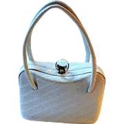 White Vintage 1950s Box Purse Glass Knob Top Handle Handbag Bag