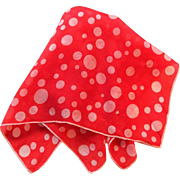 Vintage 1950s Silk Hanky Pocket Square Scarf Red White Polka Dot Bubbles