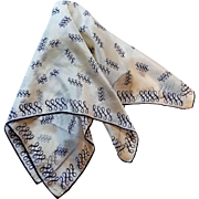 Vintage Silk Scarf Pocket Square Hanky Hankie 1950s