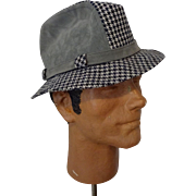 Vintage Fedora Hat 1970s Mens Houndstooth Suede Leather Black White Grey Stevens Chapeaux