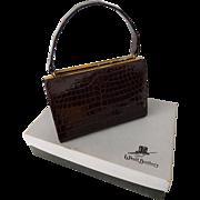 Vintage 1950s Bellestone Crocodile Kelly Bag Purse Woolf Brothers Original Box Never Used