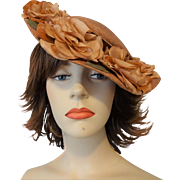 Vintage 1940s Straw Wide Brim Hat Millinery Flowers Velvet Bow