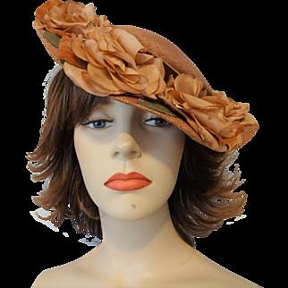 Vintage 1940s Straw Wide Brim Hat Millinery Flowers Velvet Bow