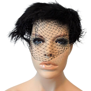 Dramatic Vintage 1950s Cocktail Whimsy Black Hat Veil Ostrich Feathers