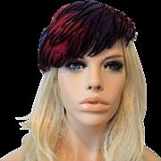 Vintage 1940s Feather Topper Hat Purple Crimson Black Lady Ann Model