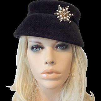 Italian Womens Black Velvet Hat Vintage 1940s Milk Glass Ornament Henry G. Ross Original