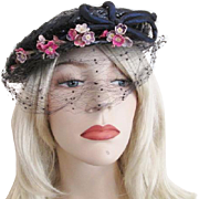 Navy Straw Hat Vintage 1940s Veil Millinery Flowers Bow