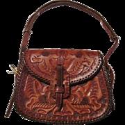 Hand Tooled Leather Purse Vintage 1950s Western Handbag