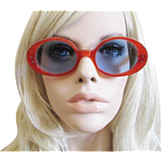 HOLD For Buis Mod Lucite Sunglasses Vintage 1960s Orange Early Plastic Glasses