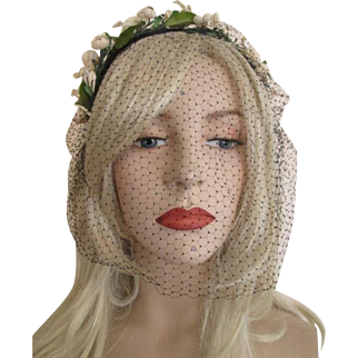 Hat Vintage 1950s Floral Headband Veil Cocktail Whimsy Accessory