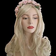 Pink Headband Vintage 1950s Millinery Roses Leaves