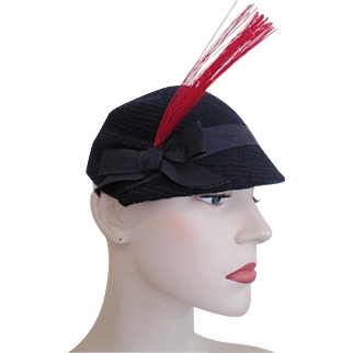 Womens Vintage 1940s Navy Knit Hat Red Plume