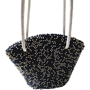 Vintage 1950s Beaded Purse Lumured Caviar Beadette Corde Bead Navy White