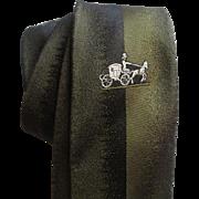 Mens Vintage 1960s Silk Skinny Tie Horse And Buggy Olive Green Macys Innes