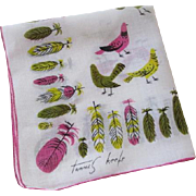 Tammis Keefe Hanky Hankie Vintage 1950s Pigeon Patrol Lime Signed