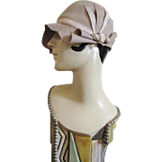 Art Deco Flapper Cloche Hat Vintage 1920s Tan Felt Ribbons