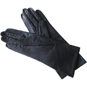Navy Leather Gloves Vintage 1960s Womens Silk Lining