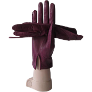 Harrods Purple Leather Gloves Vintage 1960s Italian Silk Grape 7.5