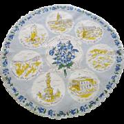 Colorado Souvenir Hanky Hankie Vintage 1950s Denver Round Print Cotton Handkerchief