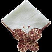 Crocheted Butterfly Hanky Hankie Vintage 1940s Fine Linen