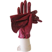 Red Leather Gloves Vintage 1960s Deep Crimson Womens Accessory