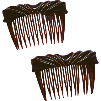 Art Deco Lucite Hair Combs Vintage 1940s Amber Carved Lucite Pair