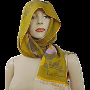Pierre Cardin Silk Head Scarf Vintage 1960s Bold Flower Design Fringe