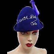 North Pole Colorado Elf Souvenir Hat Vintage 1940s Purple Embroidery Feather