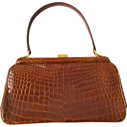 Saks Fifth Avenue Kelly Bag Purse Vintage 1950s Embossed Leather Crocodile Reptile