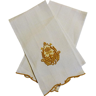 Pair Marghab Guest Fingertip Towels Linen Embroidery Madeira