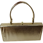 Vintage Gold Purse Lame Metallic Kelly Bag 1960s Boxy Womens Handbag