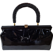Vintage Black Purse Kelly Bag Ingber Patent Leather 1960s Striped Interior Larger Size