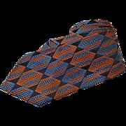Vintage Mens Necktie 1950s Woven Silk Necktie Mid Century Modern Geometric Designs